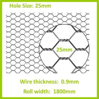 25mm 1800 Galvanised Hexagon Mesh