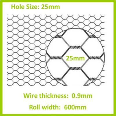 25mm 600 Galvanised Hexagon Mesh