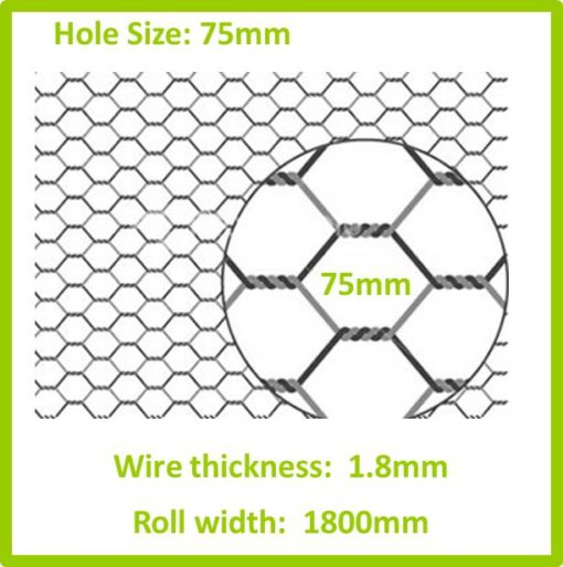 75mm 1800 Galvanised Hexagon Mesh