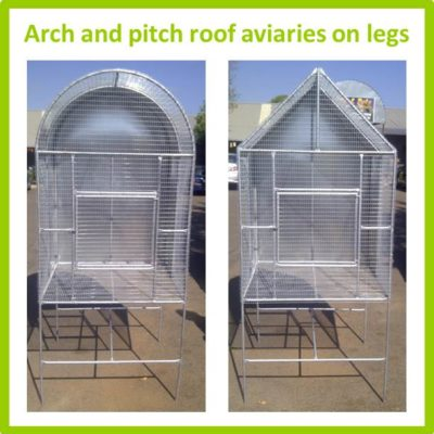 Arch and pitch roof aviaries on legs