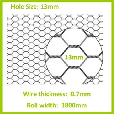 13mm 1800 Galvanised Hexagon Mesh