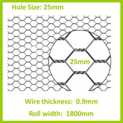25mm 1800 Galvanised Hexagon Mesh