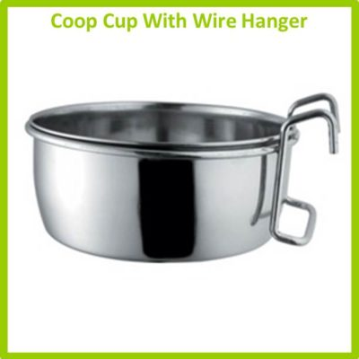 Stainless Bowls - Coop Cup With Wire Hanger